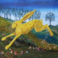 'Golden Hare Running' - card
