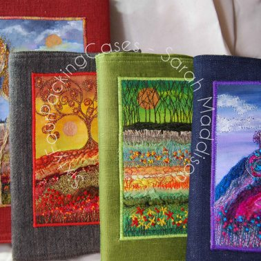 Handmade notebook covers with unique textile embellishment